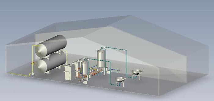Универсальная технологическая схема цеха производства эмульгаторов, жировых смазок и консервантов.