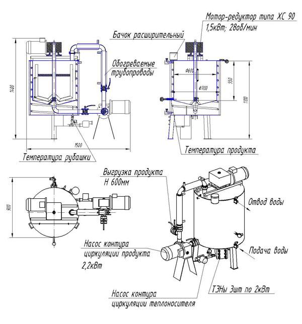Схема емкости приготовления